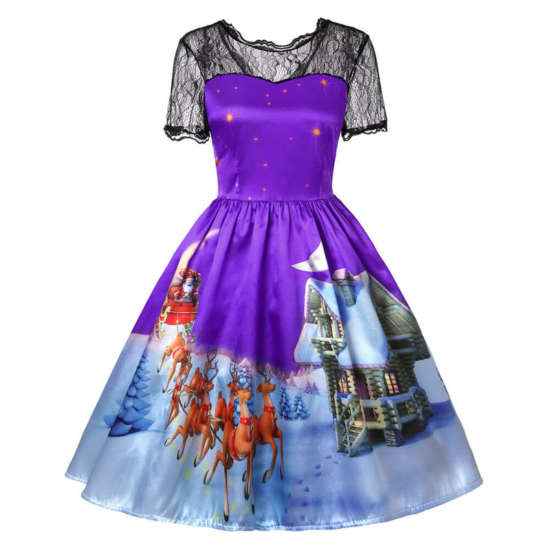 Christmas Print Retro Lace Splice Swing Dress