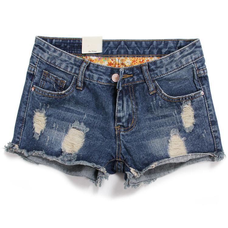 Rough Edges Low Waist Fashion Plus Size Ripped Denim Shorts - Bags in Cart - 1