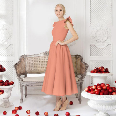 Pure Color Sleeveless Scoop Tea-length Party Dress