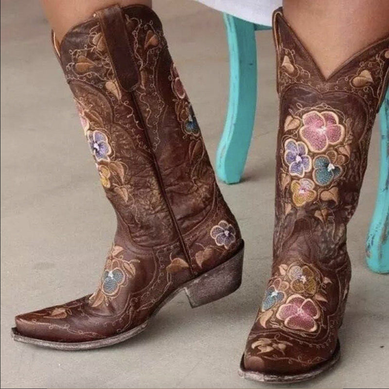 Pointed Toe Slip-On Floral Western Thread Boots