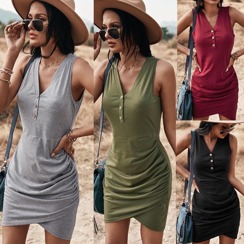 Solid Sleeveless Short Dress