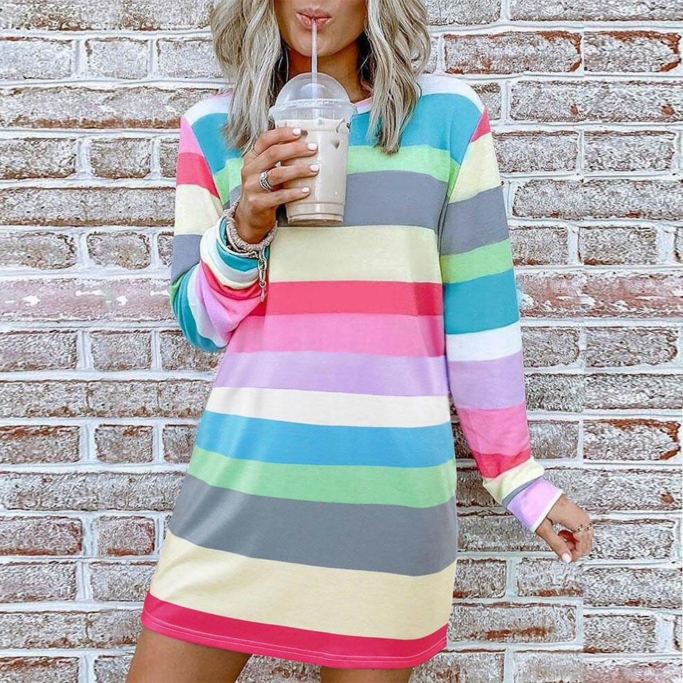 Casual Long Sleeve Striped Dress