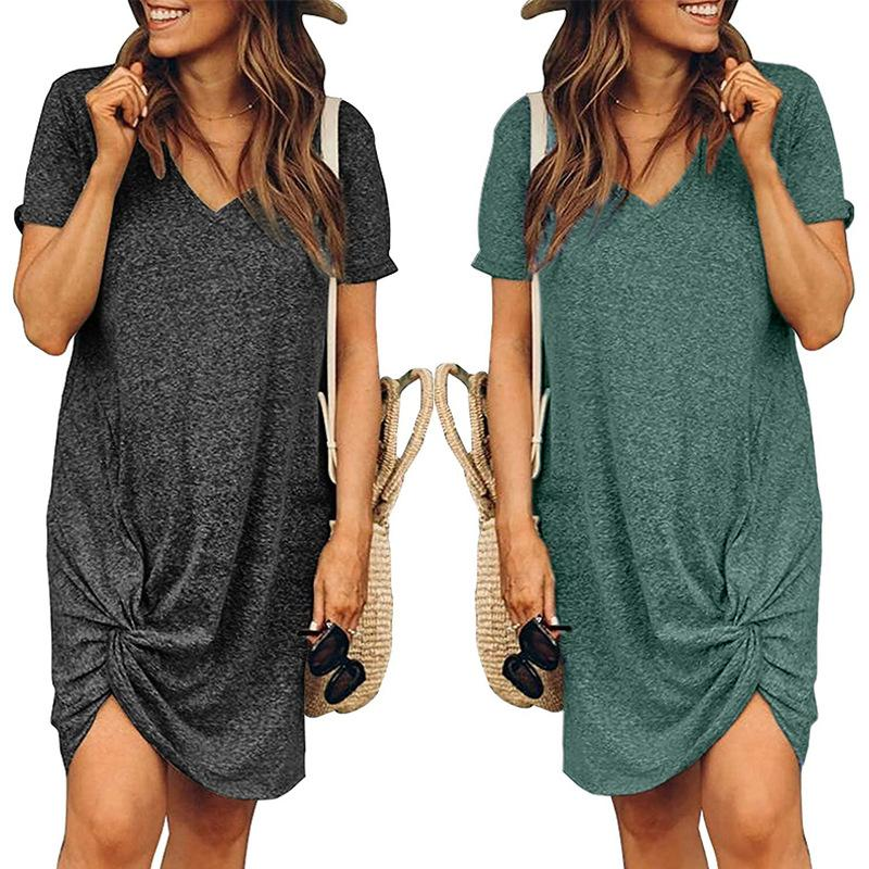 Loose V-neck Short Sleeve Dress