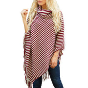 Stripes High Neck Loose Irregular Cap Sweater