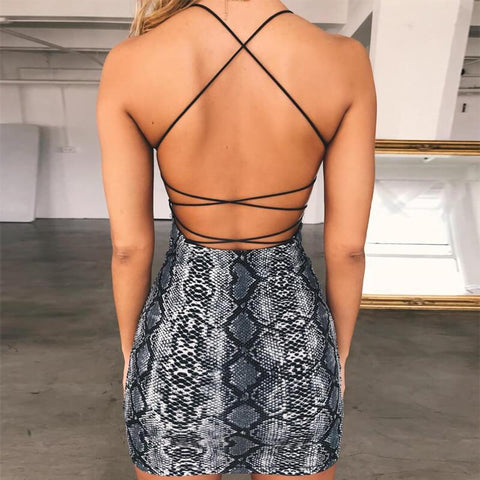 Snake-grain Pattern Sleeveless Spaghetti Straps Short Dress