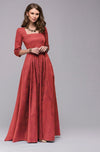 Square Necklace Pure Color Half Sleeves Long Dress
