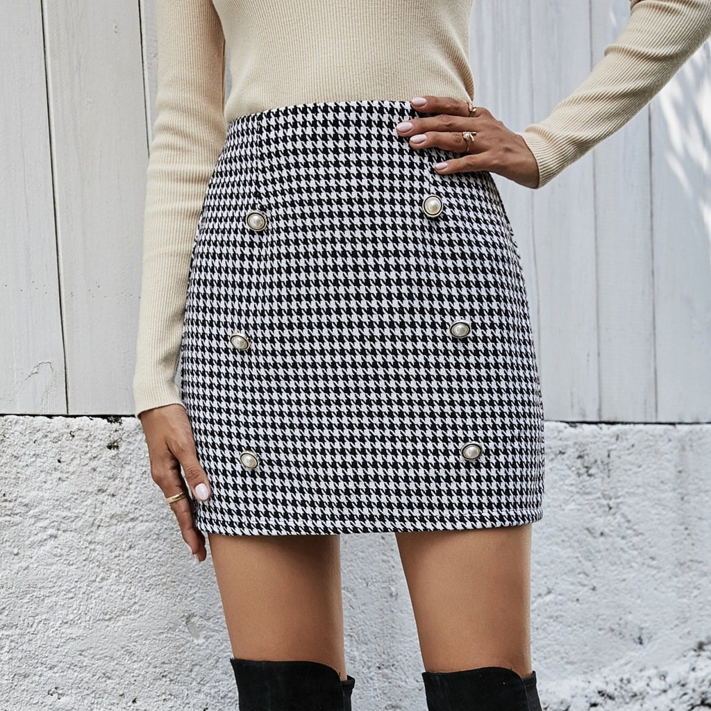 High Waist Black And White Plaid Skirt