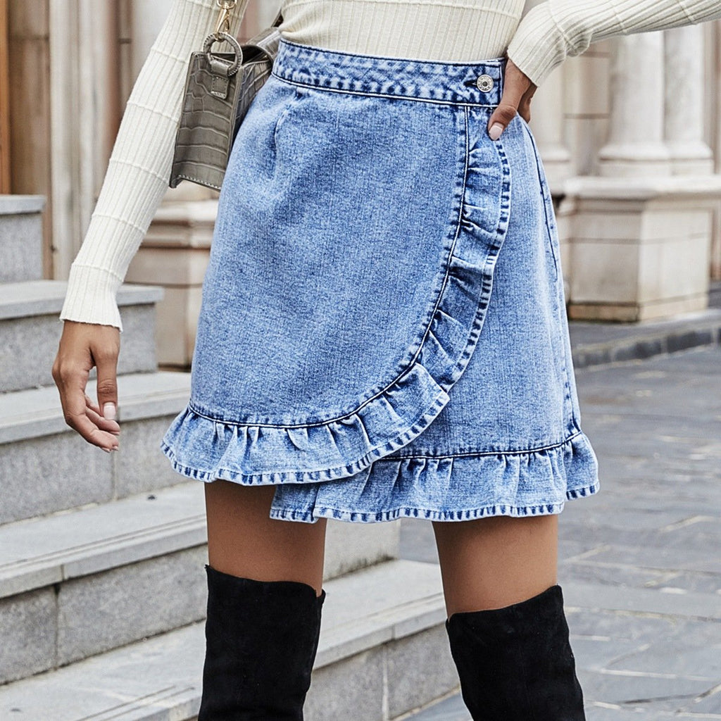 Ruffle High Waist Denim Skirt