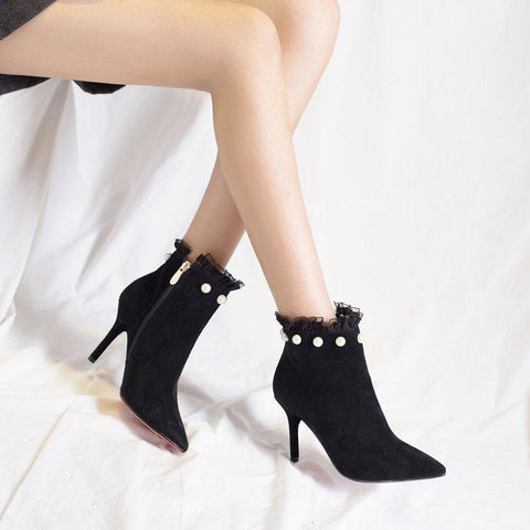 Suede Pointed-Toe Ankle Stiletto Boots with Pearl Embellishment and Ruffle Trim