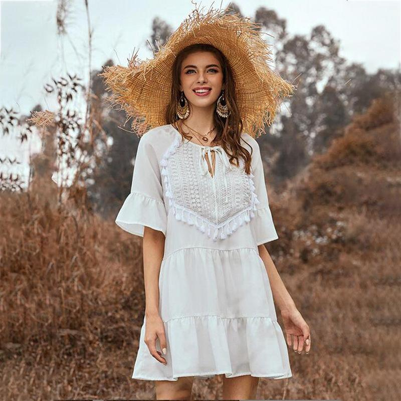 Ruffle Fringe Neckline Lace Up Flared Sleeve Dress