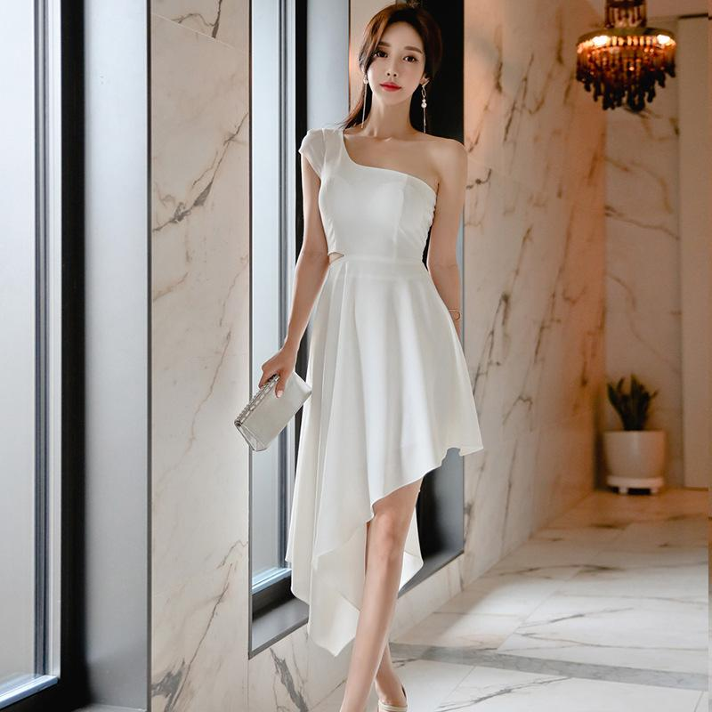 Fashion Off-Waist Oblique Shoulder Bridesmaid Irregular Hem Dress