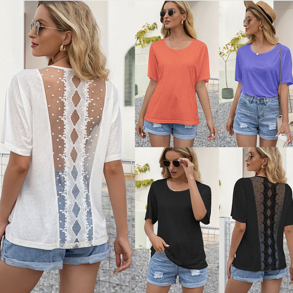 Round neck short sleeve cut out lace stitching T-shirt