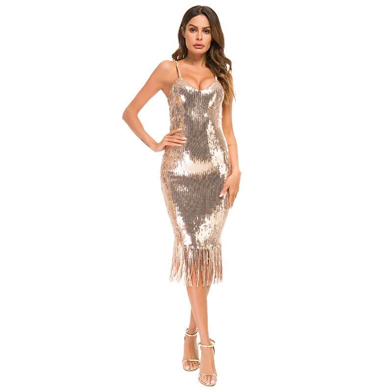 Backless Lined V-neck Sleeveless Sequins Knee-Length Dress
