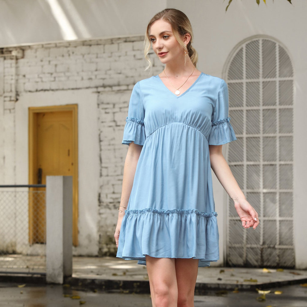 Short Sleeve Ruffle Solid Casual Dress