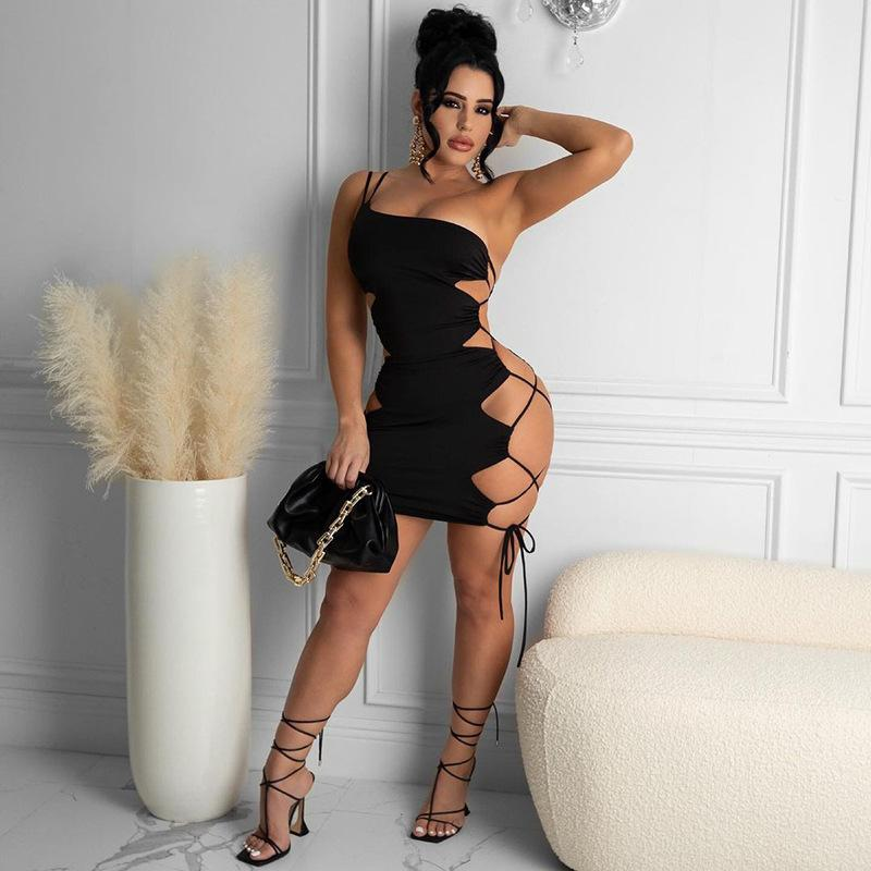 One-Shoulder Open-Back Lace-Up Hip Short Dress