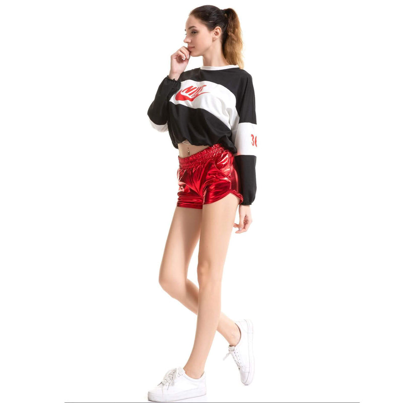 Pure Color Shinning Fabric Sexy Loose Shorts
