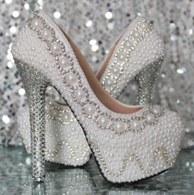 Pearl Rhinestone Super High Heel Wedding Shoes