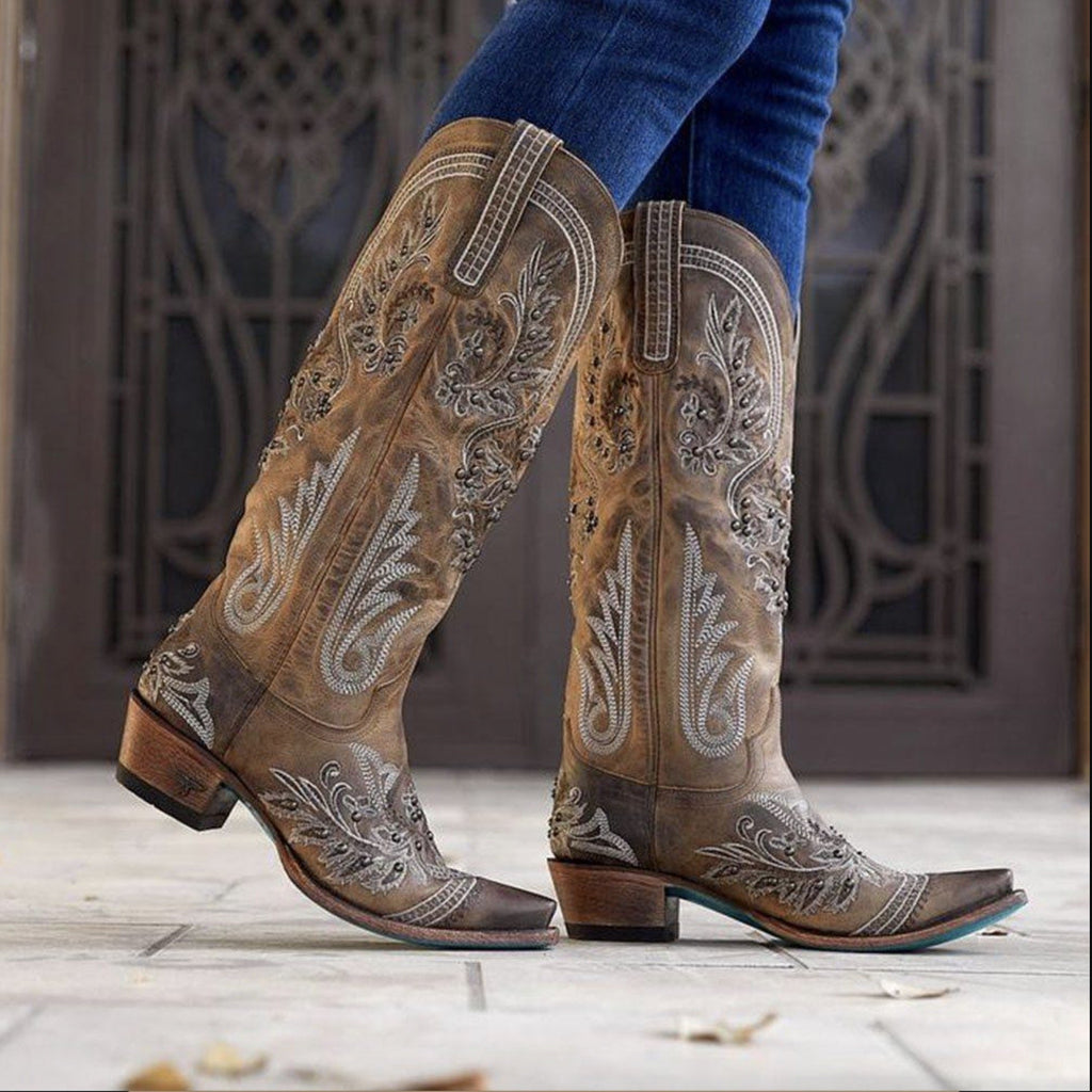 Plant Chunky Heel Round Toe Slip-On Embroidery Western Boots