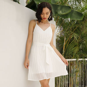 Sleeveless Chiffon Short Dress