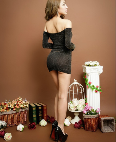Sexy High elastic Off Shoulder Long sleeve Dress