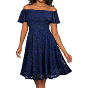 Women's Elegant off Shoulder Short Sleeve Lace A-line Party Dress