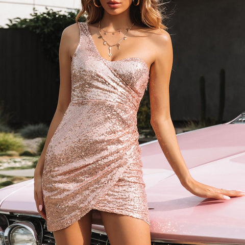 Sexy Sequins one shoulder Short Bodycon Dress