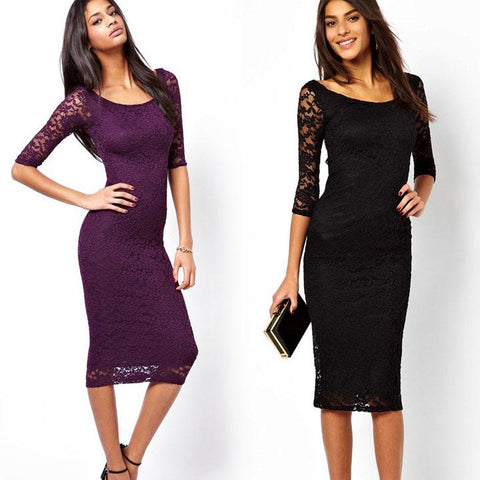 Women Bodycon Sexy Ladies O-neck Slim Lace Dress Half Sleeve