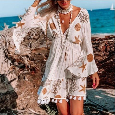 Deep V Print Beach Dress
