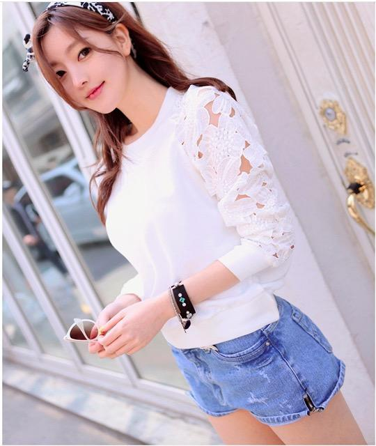 Lace Hollow Out Patchwork Slim Sweatshirt