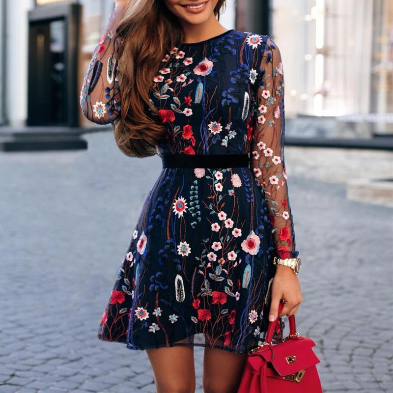 Lace Sexy Mesh Embroidery Floral Dress