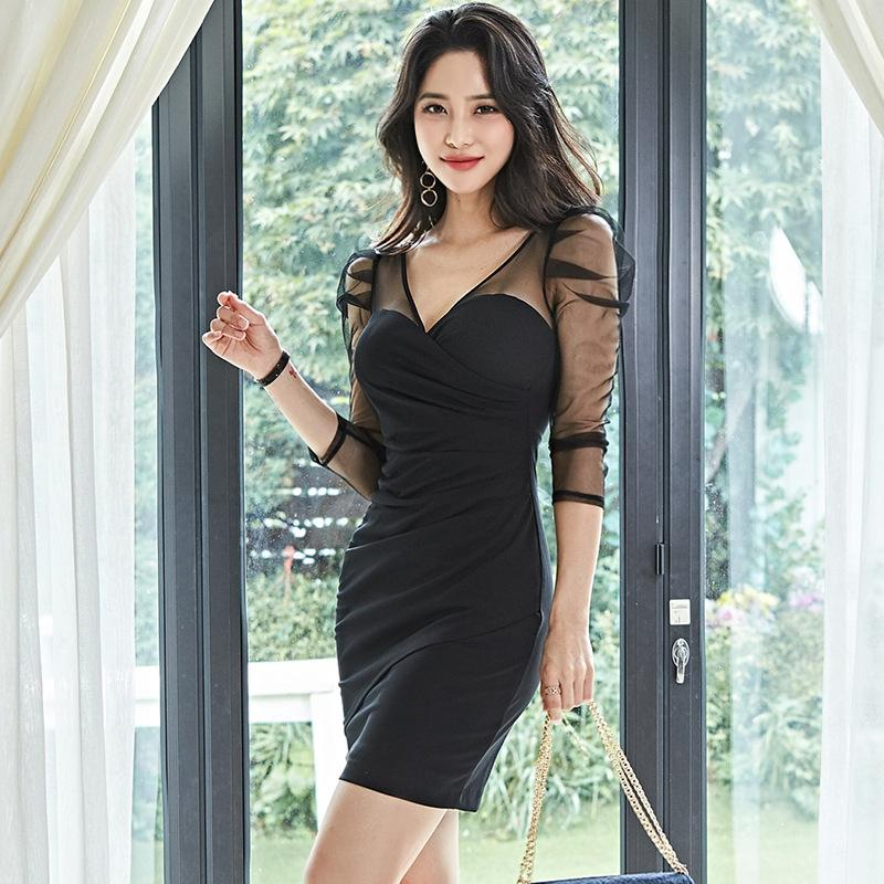 V-Neck Mesh Stitching Long-Sleeved Dress