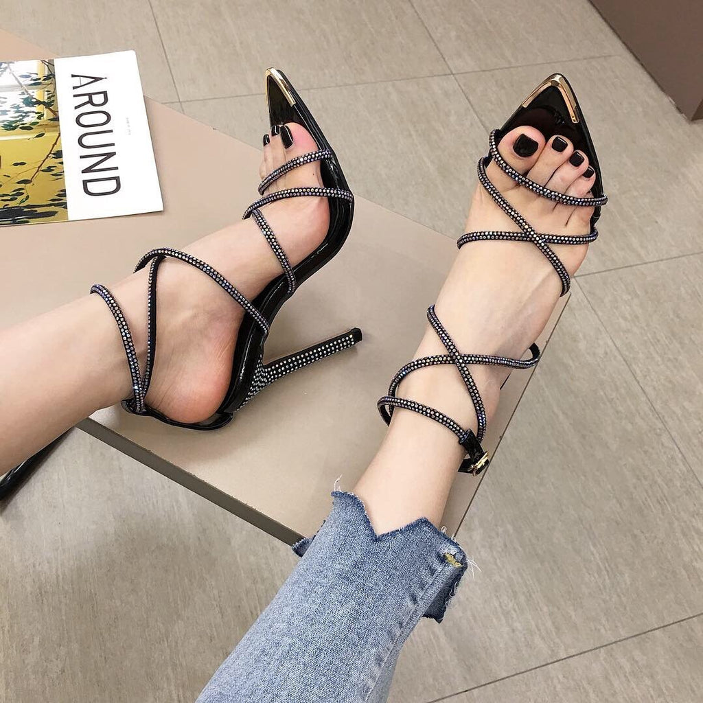 Pointed high heel pressure drill women's sandals large size sandals