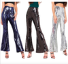 Shinning Sequins High Waist Solid Color Long Bell-bottomed Pants
