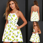 Bear Shoulder Print A-line Spaghetti Straps Backless Short Dress