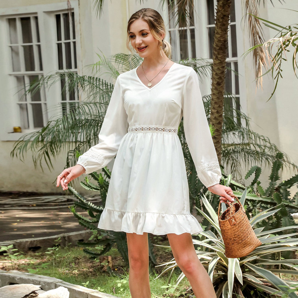 Stitched V-neck lantern Long Sleeve Dress