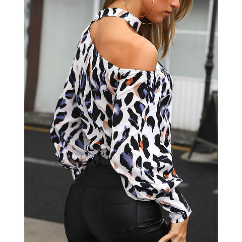 One Shoulder Leopard T-shirt