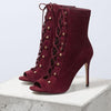 Red Suede Peep Toe Strap High Heel Ankle Boots
