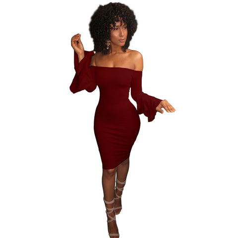 Off Shoulder Long Trumpet Sleeves Knee-length Bodycon Dress