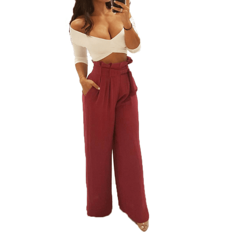 Wide Leg High Waist Loose Belt Pants