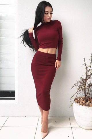 Pure Color Soft T-shirt with Knee-length Two Pieces Dress Set