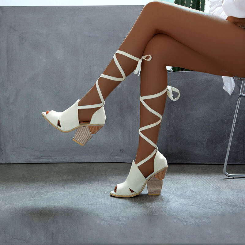 Fashion Peep Toe Strap Chunky Heel Sandals