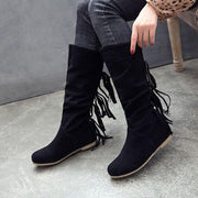Suede Fringe Knee High Round Toe Boots