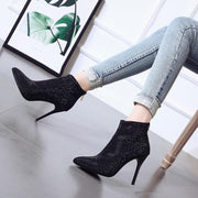 Black Rhinestone High Heel Ankle Boots