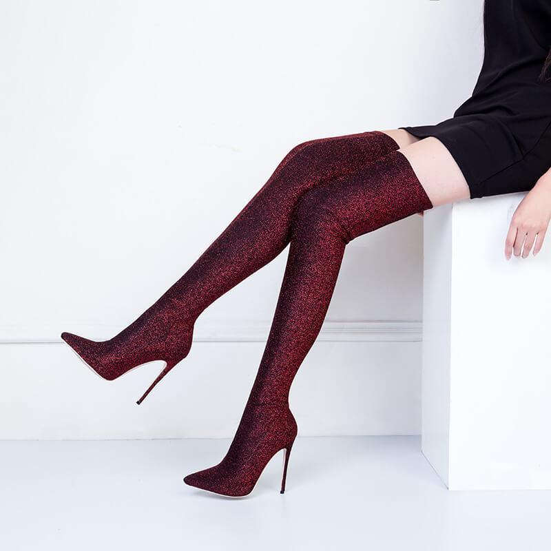 Sexy Sequin Stretch Point Toe High Heel Thigh High Boots