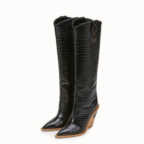 Leather Chunky Heel Point Toe Knee High Boots