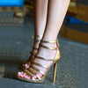 Party Gold Leather Cutout High Heel Sandals