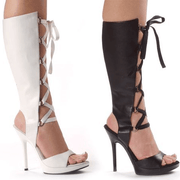 Snakeskin Cutout Chain Heel Thigh High Knee High Boots