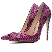 Street Fabric Plaid Pointed Toe Stiletto Heel Pumps