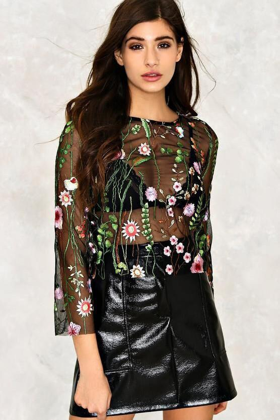 Scoop Embroidery Transparent Mesh Long Sleeves Short Blouse