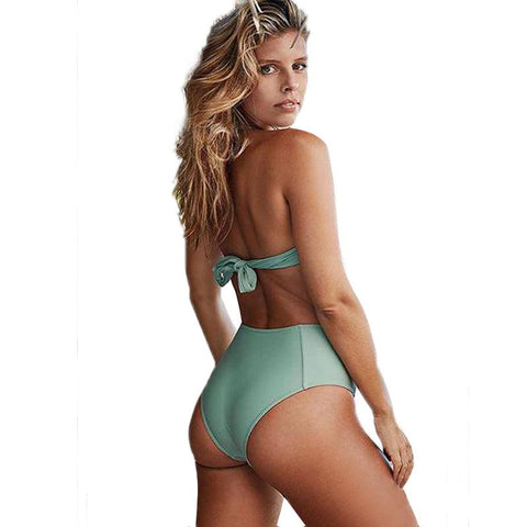 Beach Strappy Push Up Backless Two Pieces Bikini